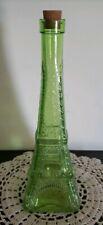 """Light Green ~ Cut Glass ~ Eiffel Tower ~ Corked Vase ~ Decanter ~ 11"""" Tall"""