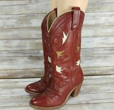 Vintage Dingo Women's Cowboy Cowgirl Western Red Boots Cut Out Leather Size 6.5M