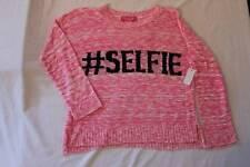 NEW Girls Knit Top Medium 7 - 8 Light Weight Sweater Pink Shirt #Selfie Hashtag