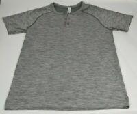 Lululemon S Metal Vent Tech Henley Slate White Heathered Gray Short Sleeve