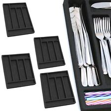 "4 Silverware Organizers Drawer Inserts Black Shallow Fit 6 Slot 11"" x 15"""