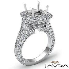 Cushion Diamond Engagement Ring 18k White Gold Halo Pave Set Semi Mount 2.1Ct