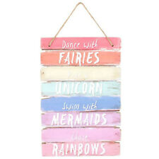 Dance With Fairies Mermaid Unicorn Rainbow Wall Bedroom Quote Wooden Plaque Sign