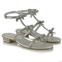 Womens Flat Strappy Sandals Diamante Ladies Party Sparkly Silver Heel Shoes Size