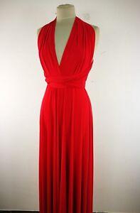 Abito Lungo Donna Rosso Elegante Made In Italy