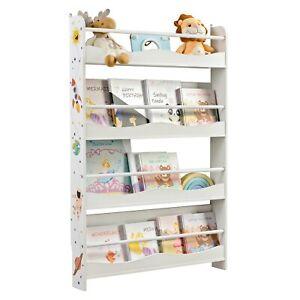 4 Ablagen Bücherregal für Kinder, Kinderregal, Wandregal, Bücher-Organizer