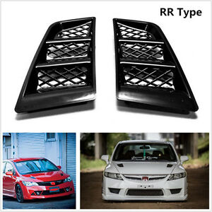 Black Universal RR Type Car Hood Vents Scoop Bonnet Air Vents Air Flow Vent Duct