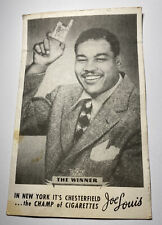 Antique Advertising Card for Chesterfield Cigarettes With Boxing Champ Joe Louis