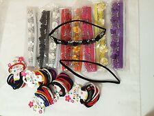 Girls Cute Multi-Color Flower Beaded Headbands & Pony Tail Holders Lot of 78 Pcs