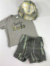 Gymboree Baby Boy 6-12 Mo Shorts Shirt Hat Outfit Set Surfer Dude Surf Rocks