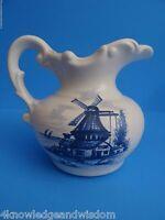 Blue White Vintage McCoy Ceramic Pitcher Windmill Farmhouse Kitchen Art Pottery