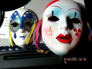 2 Porcelain Ceramic Painted Wall Hanging Face Masks