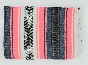 "Mexican Native Southwest Serape Throw Yoga Rug Boho Falsa Blanket 80"" x 54"""