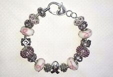 E326 European Charm Bracelet Hope Swarovski Crystals Pink Ribbon Breast Cancer