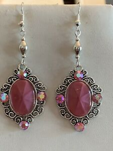 50% Off*RARE VTG. HAND-CRAFTED W.GERMAN GLASS PINK STAR RUBY& CRYSTAL EARRINGS