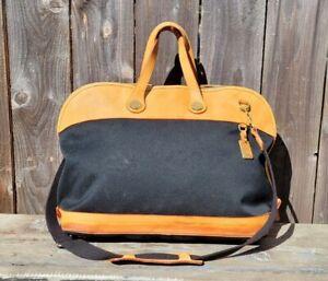 Dooney & Bourke CABRIOLET Carry On Duffel Weekender Bag Nude Leather Black Twill