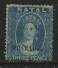 Natal QV 1869 3d blue overprinted Postage unused no gum