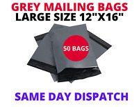 50XLARGE A3 SIZE 12X16 GREY MAILING BAGS POSTAL POLY PACKING PARCEL BAG CHEAPEST