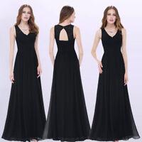 Ever-pretty Long V-neck Sleeveless Evening Gowns Black Bridesmaid Dresses 08871