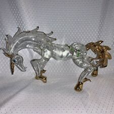 Unicorn Hand-Crafted Art Glass! Gilded In 22K Gold And Adorned With Rhinestone.