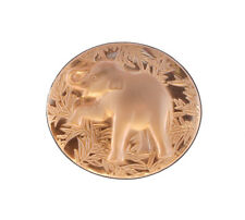 Lalique France Frosted Crystal Glass Raised trunk Elephant Pin