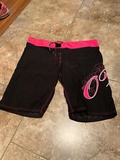 On The Mat Womens Fight Board Shorts Size 11 Black And Pink (119)