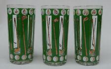 3 Vintage Mid Century Golf Design Glass Tumblers