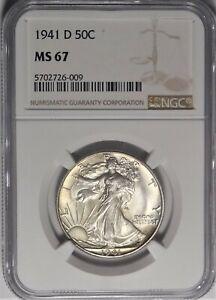 1941-D 50c NGC MS 67 Superb Gem Uncirculated Walking Liberty Half Dollar Coin