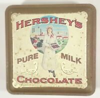 "Vintage Hershey's Pure Milk Chocolate ""The Hershey Girl"" Tin Box Canister  #2"