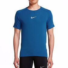 Nike sz L Men's Aeroreact Running Shirt New $90 717972-436 Blue w Reflective