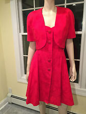 GUY LAROCHE Size 8 Red Cotton Floral Damask 2-Piece SLEEVELESS DRESS & JACKET