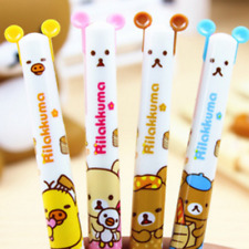 Hot 2PC Cute Rilakkuma Bear Ball Pen Stationery Ballpoint Office Study Tool Lot