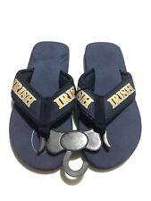 "Navy Unisex ""Irish"" Logo Beach Flip Flop Sandals Men 5-6, Women 7-8, Size Small"