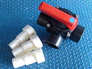 PVC 3-Wege-Zylinderhahn, 50/63 mm, Kugelhahn, 3 Klebetüllen,Bypass, Wärmepumpe