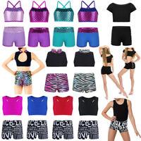 Kids Girls Dance Wear Outfits Ballet Gymnastics Leotard Crop Top+Shorts Bottoms