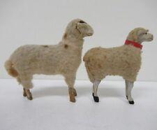 New Listing(2) Antique Vintage Christmas Nativity Wool Lamb Sheep w/Wood Stick Legs yz4641