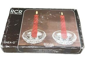 Royal Crystal Rock | RCR | LINEA G | 2 Candle Holder With Candles | Italy | New