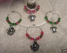 4 Delta Zeta WINE GLASS CHARMS Turtles Roses Pink Green