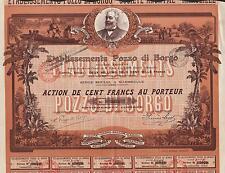 FRANCE COLONIZATION  stock certificate POZZO DI BORGO 1913