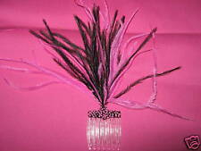 new black/pink ostrich feathered fascinator with beads