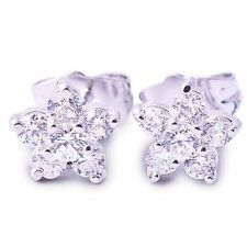 ^Stunning^9K White Gold Filled CZ Snowflower Stud Earrings,P0228