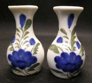 Two White with Blue Flowers Miniature Vases