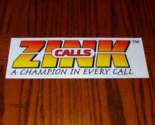 """ZINK CALLS LOGO GOOSE DUCK CALL BUMPER TRAILER TRUCK STICKER DECAL 10"""" NEW!"""