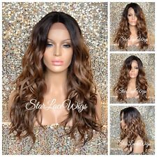 Lace Front Wig Brown #4 #27 #30 Ombre Long Wavy Curly Layers Heat Safe Glueless