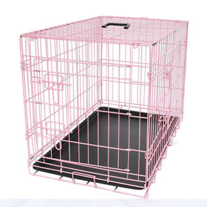 """30"""" Dog Cage Cozy Pet Pink Puppy Crates Carrier Transport Cages Training Kennel"""