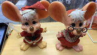 """Pair Of Vintage Big Eared Christmas Mice Roy Des Of Fla. 1970 10"""" Tall"""