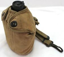 WWII US steel Canteen Vollrath 1943 Tan Cover and Paratrooper belt hanger E486