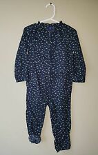 Baby Gap 2T Navy Blue Floral Romper Longall Coverall Fall Winter Holiday NWT