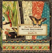 Graphic 45 NATURE SKETCHBOOK 12 Sheets 12x12 Paper  Mixed Media Scrapbook