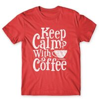 Keep Calm With Coffee T-Shirt. 100% Cotton Premium Tee NEW